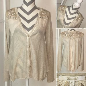 MISS ME | NWT | filigree, paisley & lace cardigan
